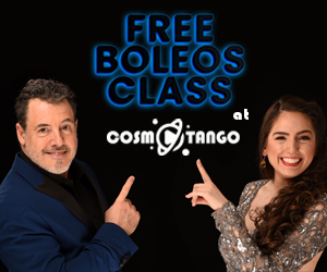 Fabian Salas and Lola Diaz pointing to a free Boleos Class ad from Cosmotango
